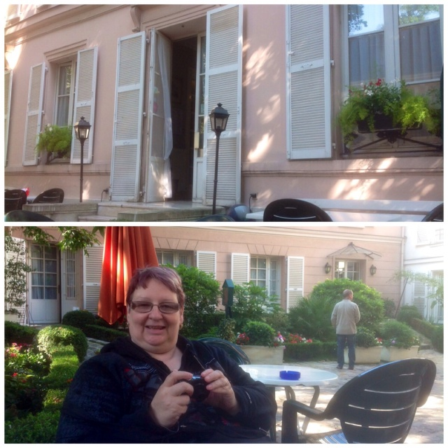 In the garden of our hotel in Paris -the latin quarter