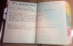 Planning section of my Paris Journal