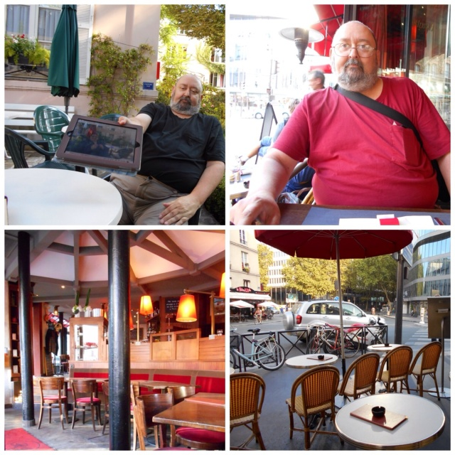 Jeff in hotel garden and Cafe Jussieu